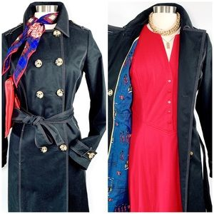 Boden Royal Themed Lined Black Coat Size 8